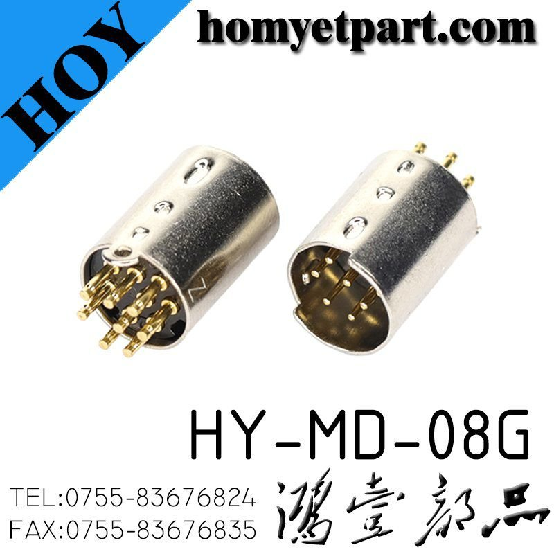 Mini-DIN male gold plated 8p pin industrial control panel interface mouse connector HY-MD-08G
